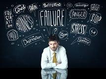Подавленный бизнесмен сидя под коробками мысли тревоги Стоковое Изображение RF