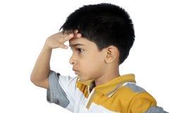 Подавленный индийский мальчик стоковое фото rf