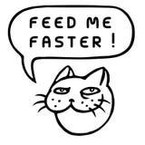 Подайте я более быстро! Голова кота шаржа речи персоны пузыря вектор графической говоря также вектор иллюстрации притяжки corel Стоковое Изображение RF