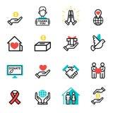 Подарите вектор поддержки гуманности символов филантропии призрения вклада пожертвования значка помощи значков плана денег устано Стоковая Фотография