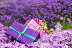 2 подарка перед морем фиолетовых цветенй Стоковые Фотографии RF