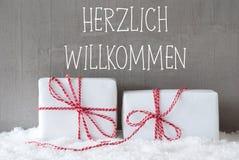 2 подарка с снегом, гостеприимсвом середин Herzlich Willkommen Стоковое фото RF