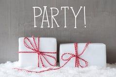 2 подарка с снегом, партией текста Стоковое Изображение