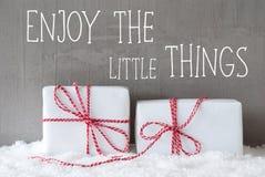 2 подарка с снегом, цитатой наслаждаются маленькими вещами Стоковые Фото