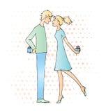 Подарки влюбленности даты мальчика и девушки Стоковое Изображение RF
