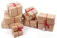 Подарки на белом годе сбора винограда предпосылки Стоковые Изображения RF