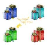 Подарки на рождество акварели в коробках и надписи приветствию Стоковое Изображение