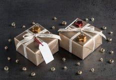 Подарки на рождество, бирка подарка, украшения рождества Стоковое Изображение