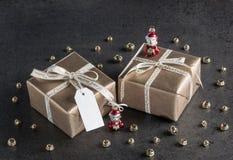 Подарки на рождество, бирка подарка, украшения рождества Стоковая Фотография