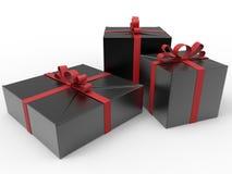 Подарки обернутые в черноте с красными лентами иллюстрация штока
