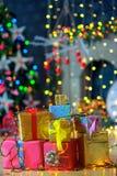 Подарки рождества ель Стоковая Фотография