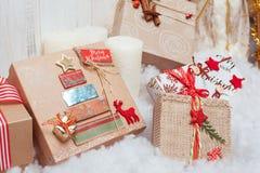 Подарки рождества приближают к дереву Стоковое Изображение
