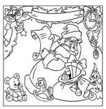 Подарки Санты рождества крася страницу иллюстрация вектора