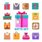 Подарки установленные в плоский стиль Стоковое Изображение
