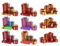 Подарки 3D рождества установили 1 Стоковое Изображение