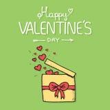 Подарок валентинки openned для того чтобы выпустить сердца Стоковое Изображение
