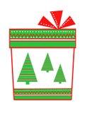 Подарок в форме прямоугольной коробки, с геометрическими дизайнами и деревьями Стоковое Изображение RF