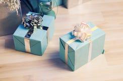 подарок голубых коробок Стоковое Изображение RF