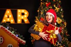 Подарок девушки и рождества 2 Стоковое Фото