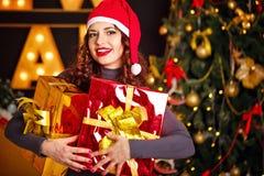 Подарок девушки и рождества 2 Стоковая Фотография RF