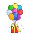 Подарок летания с воздушными шарами Стоковая Фотография