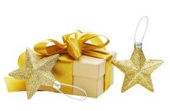 Подарок золота, смычок, звезды Стоковое Изображение