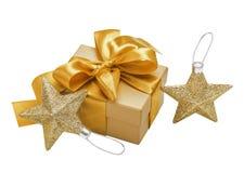 Подарок золота, смычок, звезды Стоковая Фотография RF