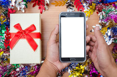 Подарок и умный телефон Стоковое Изображение