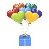 подарок иллюстрации 3D голубой и variegated воздушные шары сердец Стоковые Изображения RF
