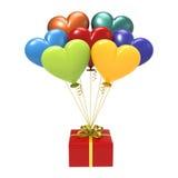 подарок иллюстрации 3D красный и variegated воздушные шары сердец Стоковое Изображение RF