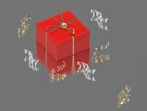 подарок и confetti иллюстрации 3D красные Стоковые Фото