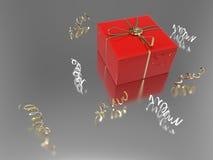 подарок и confetti иллюстрации 3D красные Стоковая Фотография