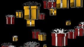 подарок коробки настоящего момента анимации альфы 3D на праздник как рождество, день рождения, или меры по увеличению сбыта в сез иллюстрация вектора