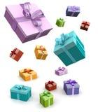подарок коробки цветастый падая Стоковое Фото