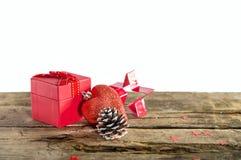 Подарок на рождество на деревянной предпосылке Стоковая Фотография