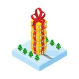 Подарок небоскреба Высокорослое офисное здание от подарочной коробки Стоковые Фотографии RF