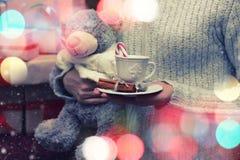 Подарок плюшевого медвежонка руки чашки Стоковое Изображение RF