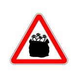 Подарок рождества внимания предупредительного знака Знак красного цвета опасностей Santas Стоковые Фото