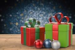 Подарок рождества и орнамент рождества Стоковое Изображение RF