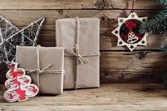 Подарок рождества handmade с рождеством забавляется крупный план Стоковое Изображение RF