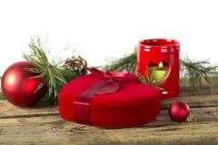 Подарок сердца рождества красный Стоковые Изображения RF