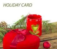 Подарок сердца рождества красный Стоковые Фотографии RF