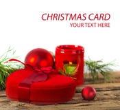Подарок сердца рождества красный Стоковое Фото