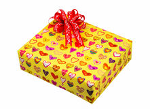 Подарок с красным смычком Стоковое Фото