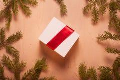Подарок ювелирных изделий рождества с красной лентой и елевыми ветвями Стоковые Изображения