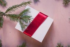 Подарок ювелирных изделий рождества с красной лентой и елевыми ветвями Стоковые Фото