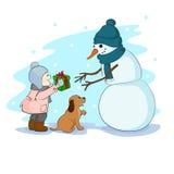 Подарок для снеговика Иллюстрация штока