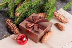 Подарочная коробка Брайна, bal рождества, conesl ели и зеленые ветви ели Стоковые Изображения RF