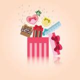 Подарочная коробка вектора милая для торжества Стоковые Фото
