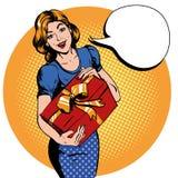 Подарочная коробка владением женщины речь пузыря благодарит вас Vector иллюстрация в ретро шуточном стиле искусства шипучки иллюстрация вектора